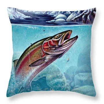 Winter Steelhead Throw Pillow by Jon Q Wright