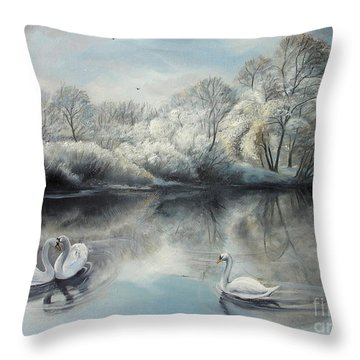 Throw Pillow featuring the painting Winter Story  by Sorin Apostolescu
