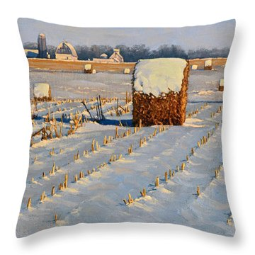 Winter Stubble Bales Throw Pillow