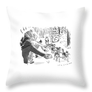 Winter Suited Volunteers Hold Out Dog Dishes Throw Pillow