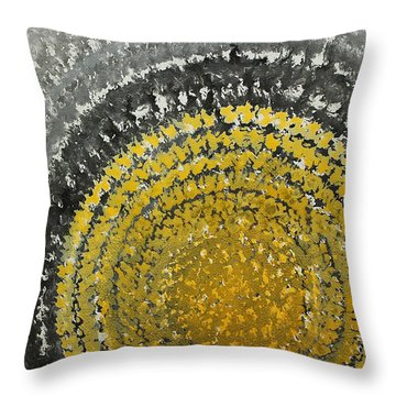 Winter Sun Original Painting Throw Pillow by Sol Luckman