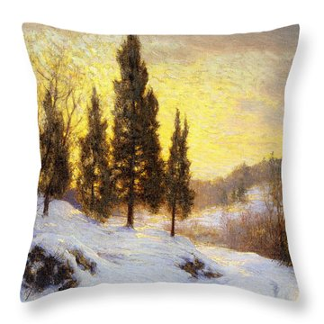 Winter Sundown Throw Pillow by Walter Launt Palmer