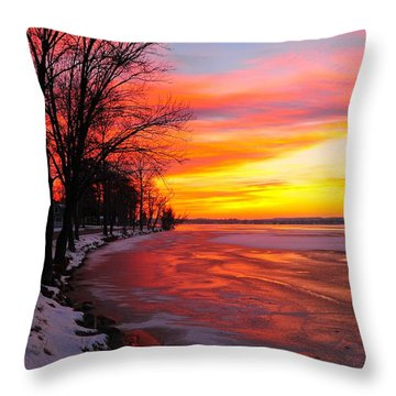 Throw Pillow featuring the photograph Winter Sunrise On Lake Cadillac by Terri Gostola