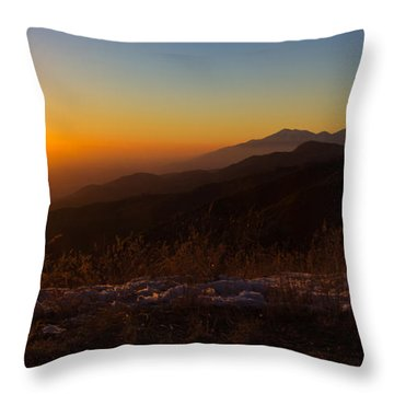 Winter Sunset Throw Pillow by Heidi Smith