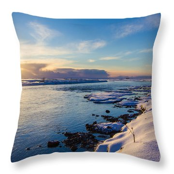 Winter Sunset In Iceland Throw Pillow by Peta Thames