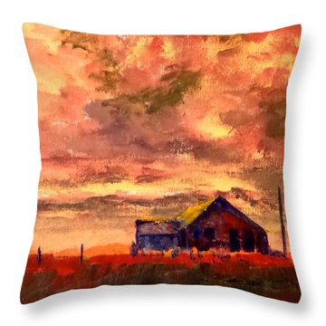 Throw Pillow featuring the painting Winter Sunset by Jim Phillips