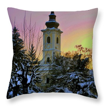 Winter Sunset Throw Pillow by Nina Ficur Feenan
