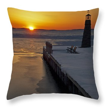 Throw Pillow featuring the photograph Winter Sunset On Lake Winneconne by Judy  Johnson