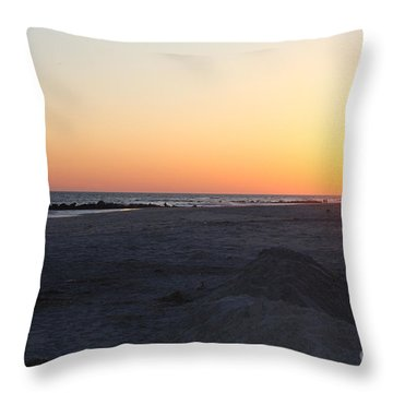 Winter Sunset On Long Beach Throw Pillow