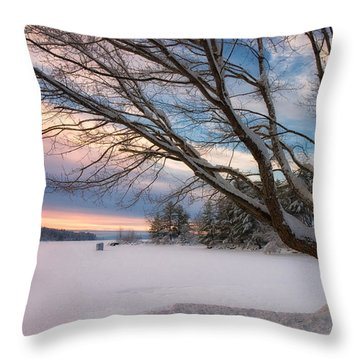 Winter Sunset On Long Lake Throw Pillow