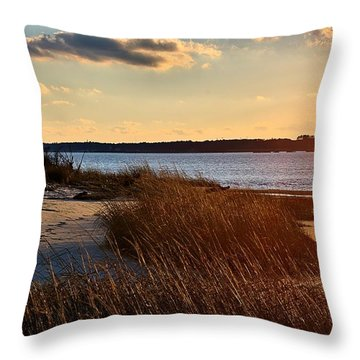 Winter Sunset On The Cape Fear River Throw Pillow