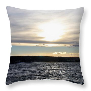 Winter Sunset Over Gardiner's Bay Throw Pillow by John Telfer