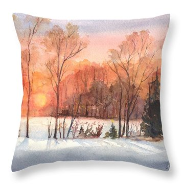 A Hedgerow Sunset Throw Pillow