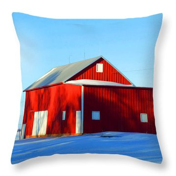 Winter Time Barn In Snow Throw Pillow by Luther Fine Art