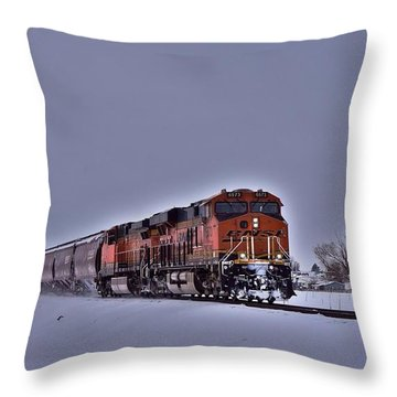 Throw Pillow featuring the photograph Winter Train by Lynn Hopwood