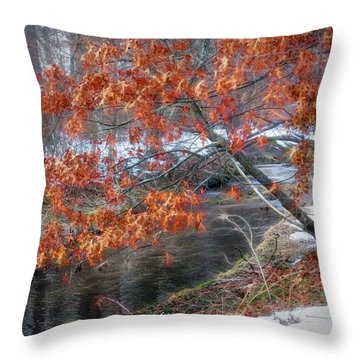 Winter Tree Scene Throw Pillow by Mikki Cucuzzo