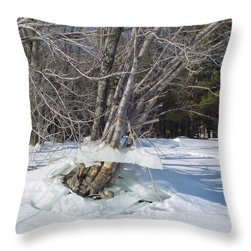 Winter Tree Skirt Throw Pillow by Nancie Johnson