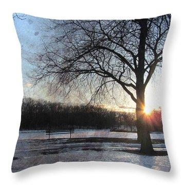 Winter Tree Sunset Throw Pillow