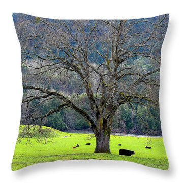 Winter Tree With Cows By The Umpqua River Throw Pillow