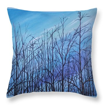 Winter Trees Against A Blue Sky Throw Pillow by Ellen Canfield
