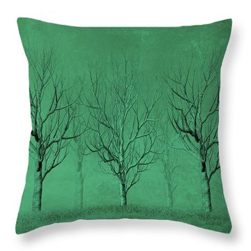 Winter Trees In The Mist Throw Pillow by David Dehner