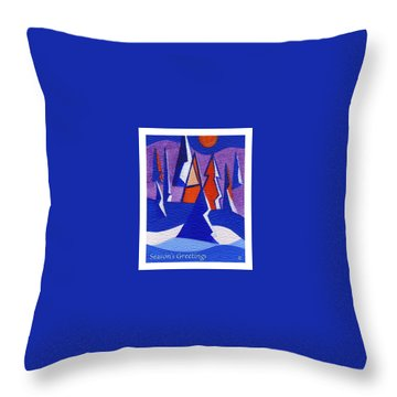 Throw Pillow featuring the painting Winter Trees by Joyce Gebauer