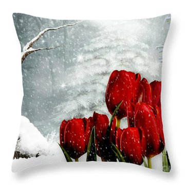 Winter Tulips Throw Pillow by Morag Bates