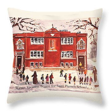 Throw Pillow featuring the painting Winter Vacation Begins For Saint Pierre's School by Rita Brown