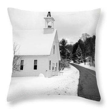 Winter Vermont Church Throw Pillow