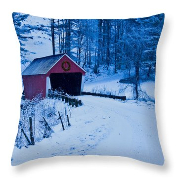 winter Vermont covered bridge Throw Pillow
