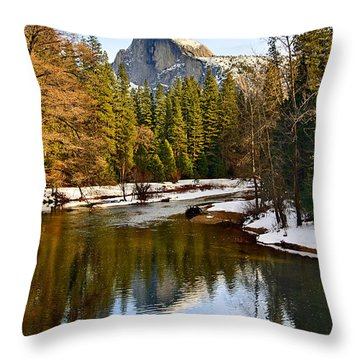 Winter View Of Half Dome In Yosemite National Park. Throw Pillow by Jamie Pham