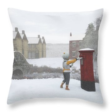 Winter Village With Postbox Throw Pillow