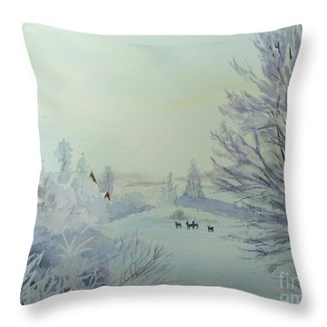 Winter Visitors Throw Pillow