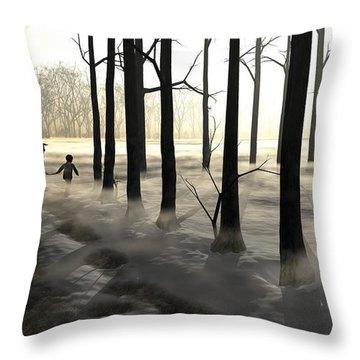 Winter Walk Throw Pillow by Cynthia Decker