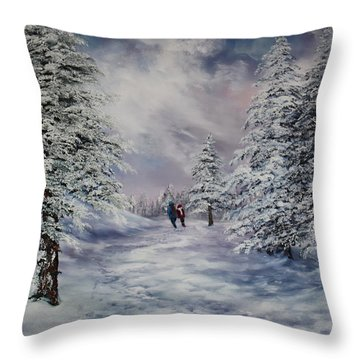 Throw Pillow featuring the painting Winter Walk On Cannock Chase by Jean Walker