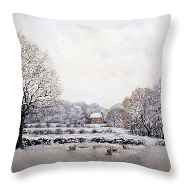 Throw Pillow featuring the painting Winter Walk by Rosemary Colyer