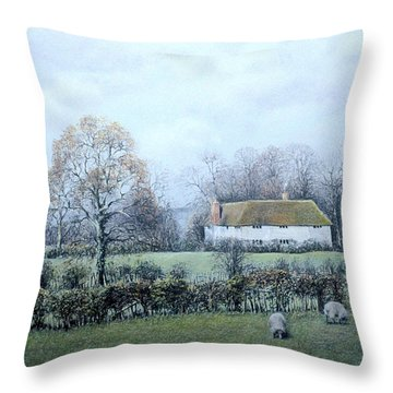 Throw Pillow featuring the painting Just A Walk At Twilight by Rosemary Colyer