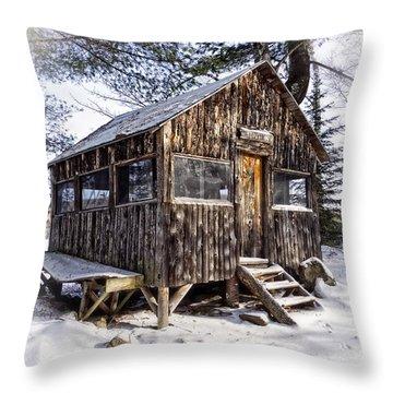 Winter Warming Hut Throw Pillow by Edward Fielding