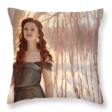 Winter Warmth - Figure In The Landscape Throw Pillow