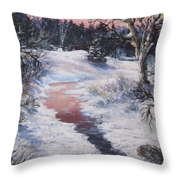 Throw Pillow featuring the painting Winter Warmth by Megan Walsh