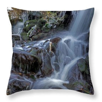 Winter Waterfall In Goyt Valley Throw Pillow by David Birchall