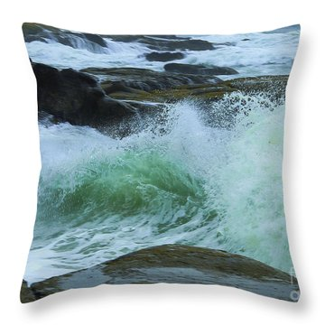 Throw Pillow featuring the photograph Winter Wave by Jeanette French