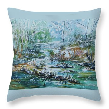 Throw Pillow featuring the painting Winter Whispers On Catskill Creek by Ellen Levinson