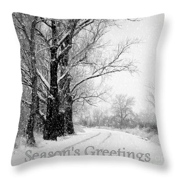 Winter White Season's Greetings Throw Pillow by Carol Groenen