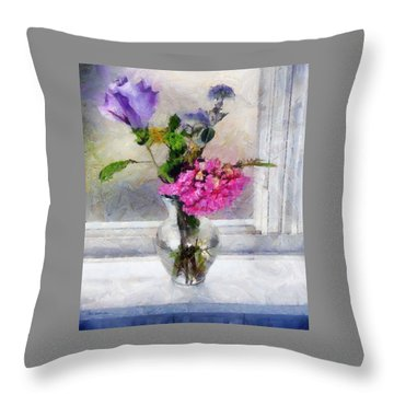 Winter Windowsill Throw Pillow