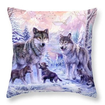 Winter Wolf Family  Throw Pillow