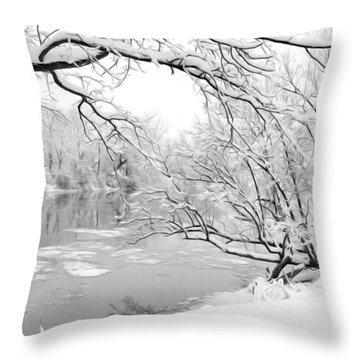 Winter Wonderland In Black And White Throw Pillow