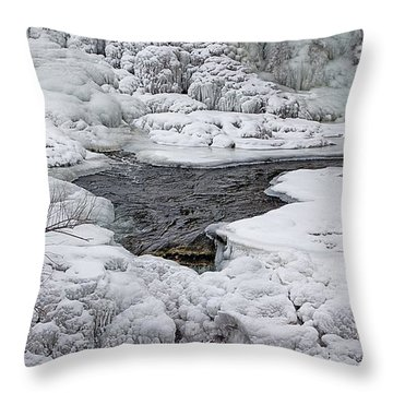 Throw Pillow featuring the photograph Vermillion Falls Winter Wonderland by Patti Deters