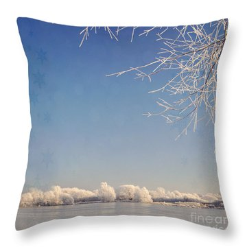 Winter Wonderland With Snowflakes Decoration. Throw Pillow
