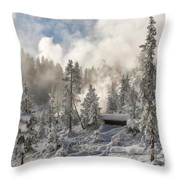 Winter Wonderland - Yellowstone National Park Throw Pillow by Sandra Bronstein